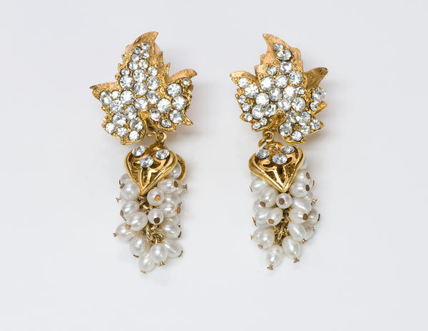 Jose & Maria BARRERA Gold Plated Pearl Grape Leaf Earrings