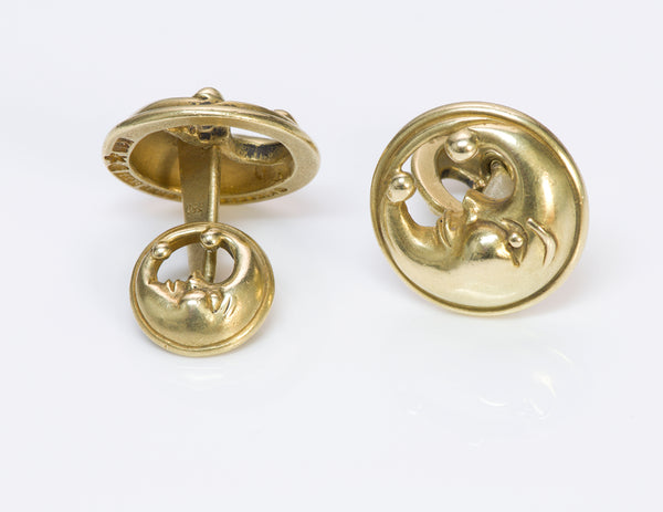 Barry Kieselstein Cord Crescent Moon 18K Gold Cufflinks