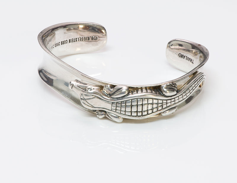 Barry K. Cord Diamond Alligator Sterling Silver Cuff Bracelet