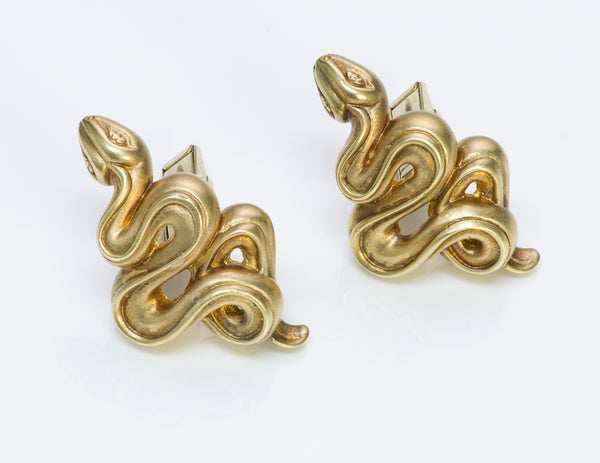 Barry Kieselstein-Cord 18K Gold Snake Cufflinks