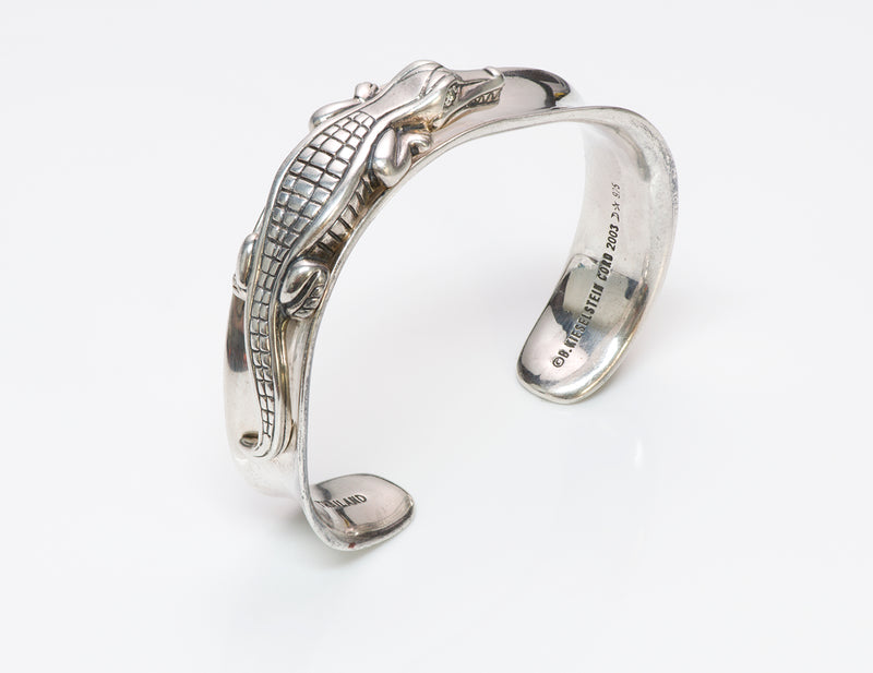 Barry K. Cord Alligator Sterling Silver Cuff Bracelet