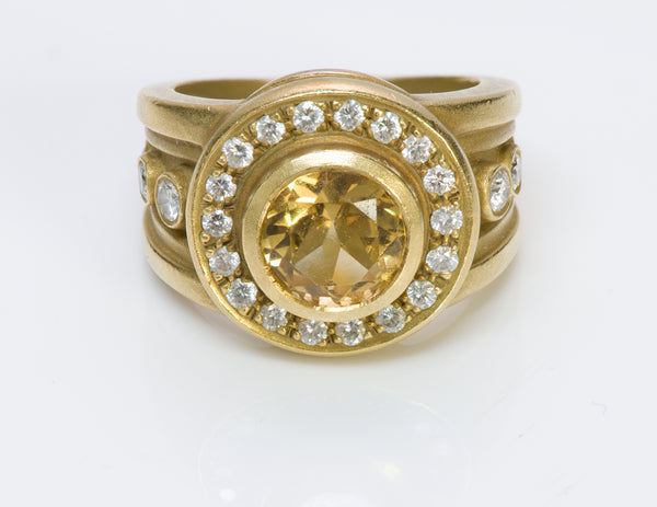 Barry Kieselstein Cord 18K Gold Citrine Diamond Ring