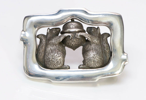 Barry Kieselstein-Cord 1994 Sterling Silver Squirrel Acorn Belt Buckle