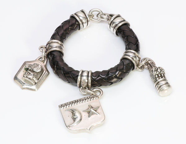 Barry Kieselstein-Cord Silver Charm Leather Bracelet