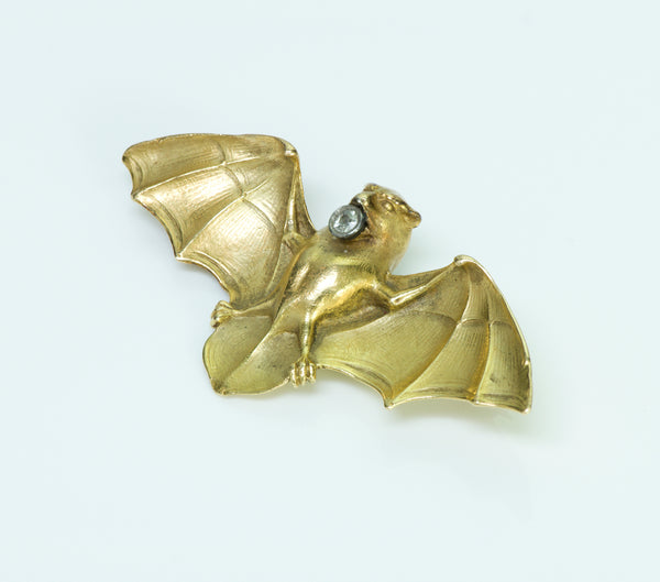 Antique Gold Diamond Bat Brooch/Pin