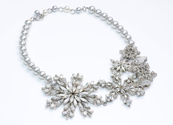 Erickson Beamon Crystal Pearl Snowflake Necklace