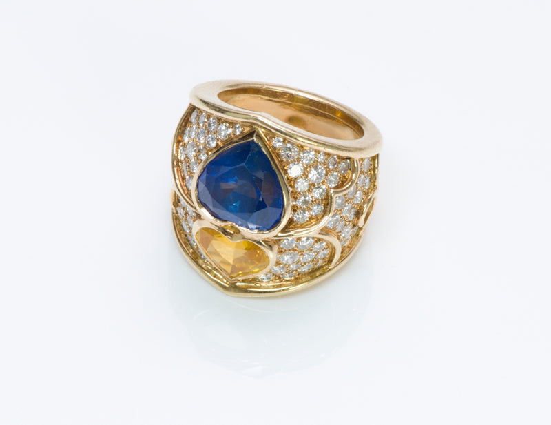 Vintage French Yellow Blue Sapphire Diamond Gold Ring