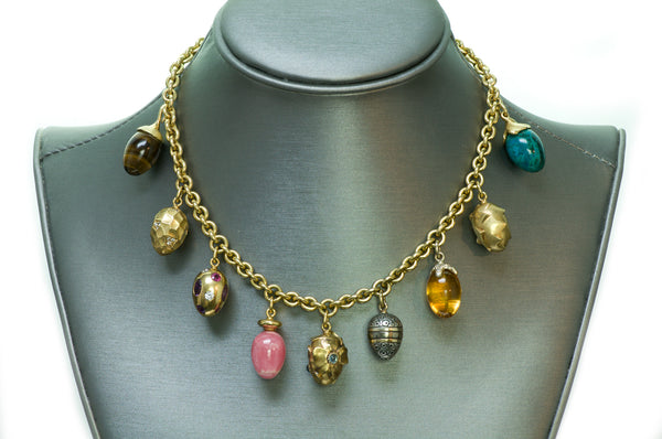 Boregaard 18K Gold Gemstone Charm Necklace