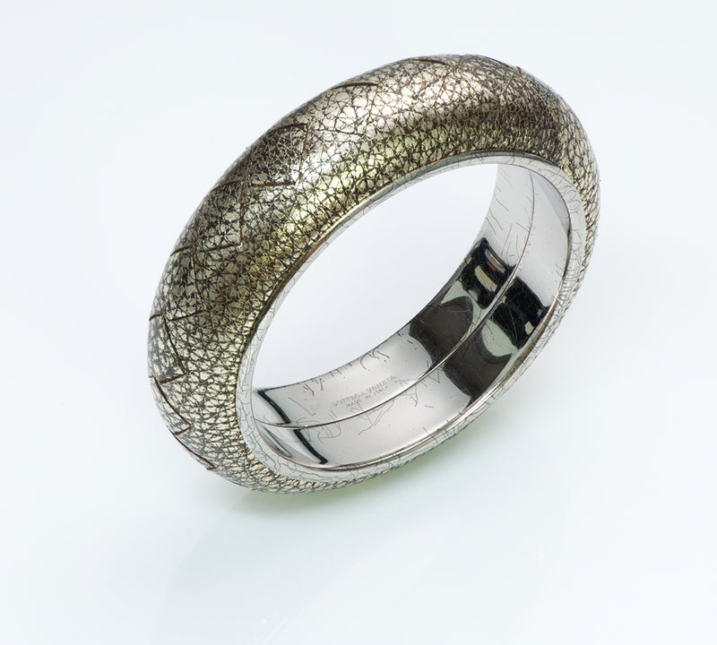 Bottega Veneta Silver Leather Bangle