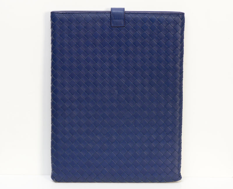 Bottega Veneta Ipad Blue Intrecciato Leather Case