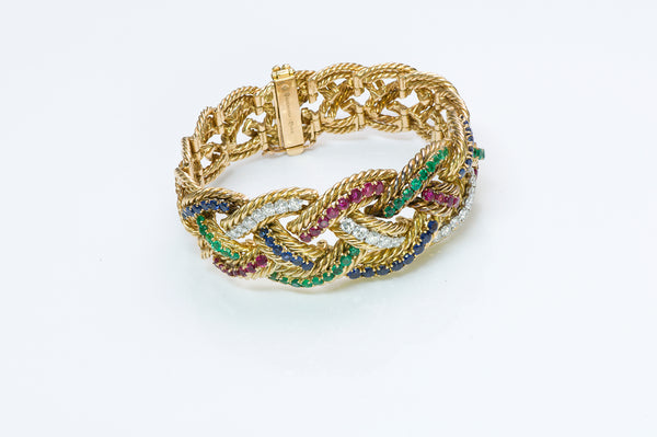 Boucheron Emerald Ruby Sapphire Diamond Gold Bracelet