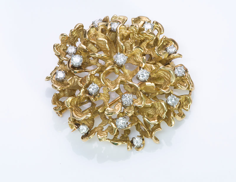 Boucheron Paris 18K Gold Diamond Brooch