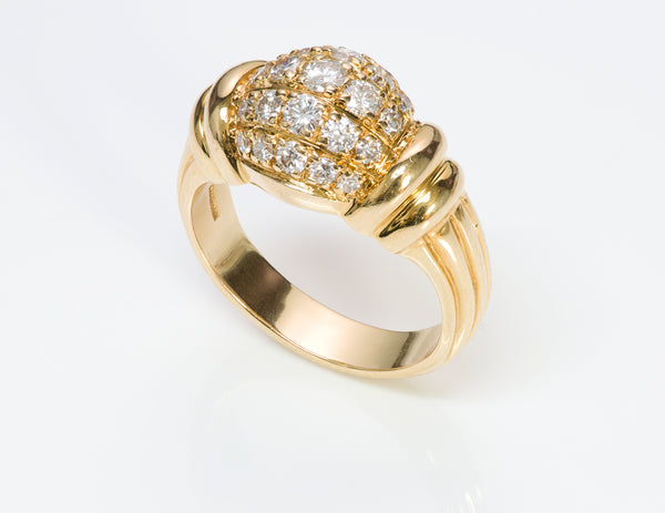 Boucheron 18K Yellow Gold Diamond Dome Ring
