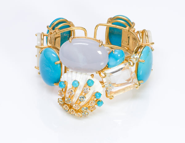Bounkit Turquoise Mother of Pearl Shell Cuff Bracelet 1
