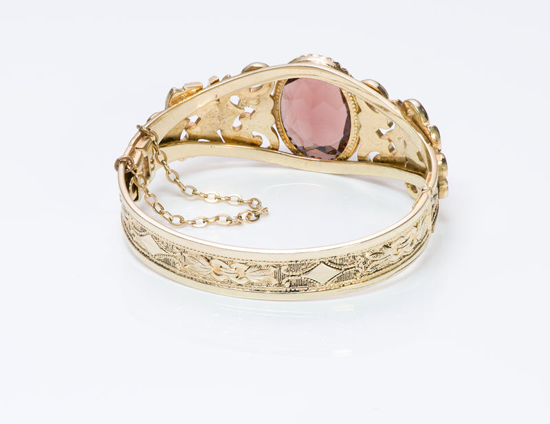 Gilt Metal Carved Bracelet