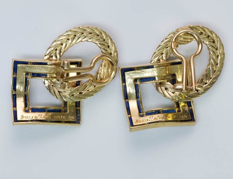 Buccellati Lapis & Gold Earrings