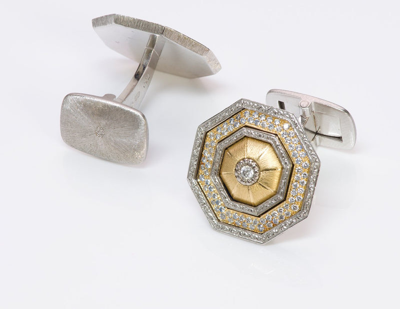 G Buccellati 18K Gold Diamond Cufflinks