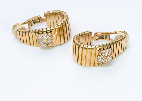 Bulgari 18K Gold Tubogas Pyramid Hoop Diamond Earrings