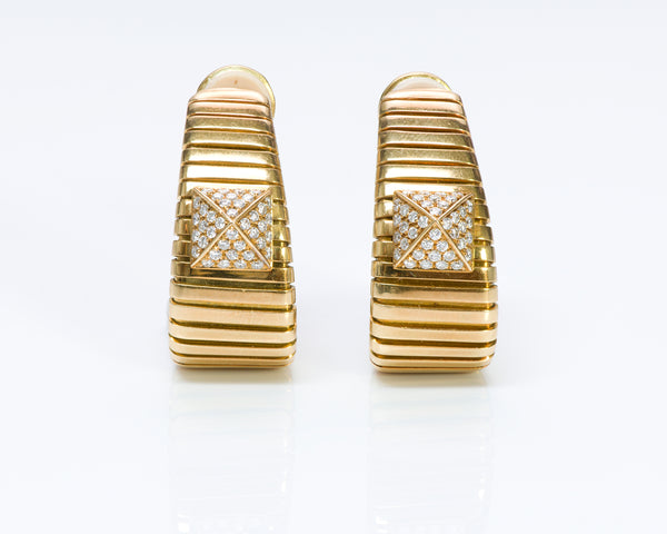 Bulgari 18K Gold Tubogas Hoop Diamond Earrings