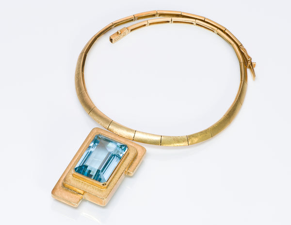 Burle Marx 18K Gold Aquamarine Necklace