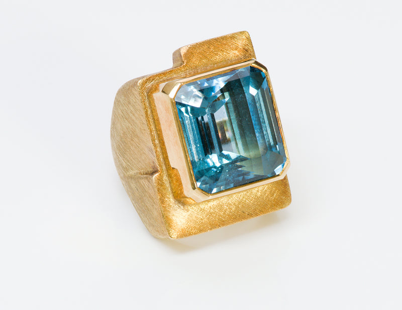 Burle Marx Blue Topaz 18K Yellow Gold Ring