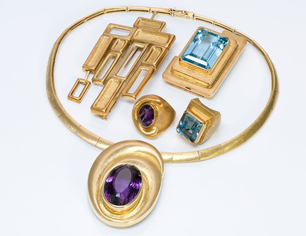 Burle Marx 18K Gold Aquamarine Amethyst Necklace Brooch Ring