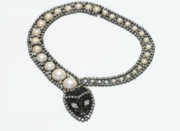 Butler & Wilson Crystal Pearl Snake Necklace