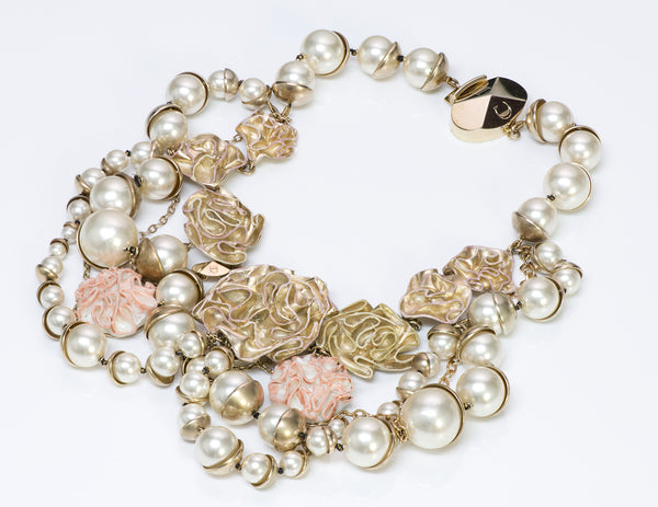 "Christian Dior ""Mise en Dior"" Pearl Enamel Flower Necklace1"