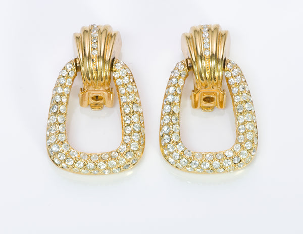 Christian Dior Door Knocker Crystal Earrings