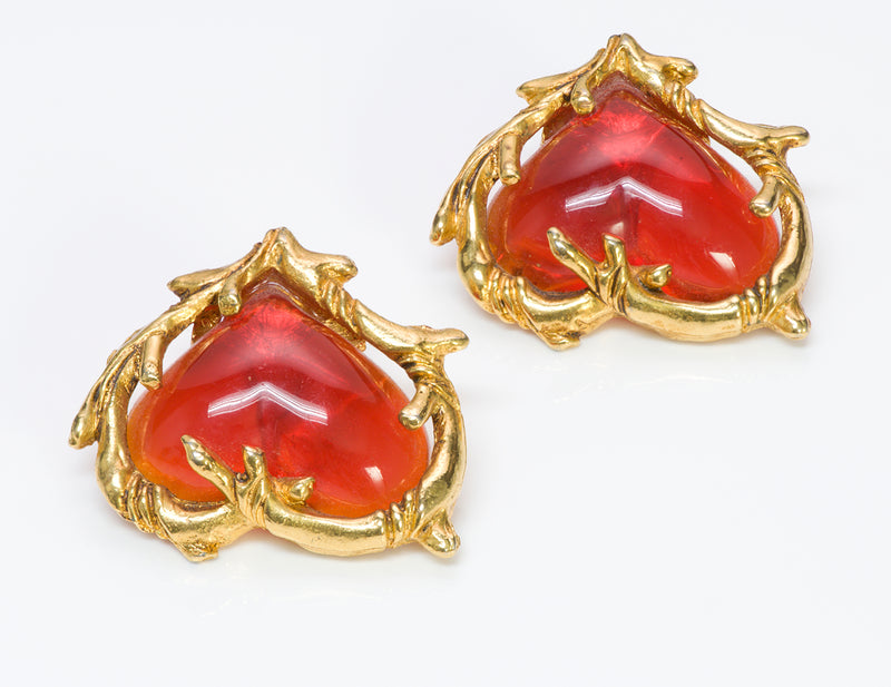 Christian Lacroix Couture Orange Heart Glass Earrings