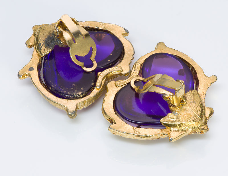 Christian Lacroix Couture Purple Heart Glass Earrings2