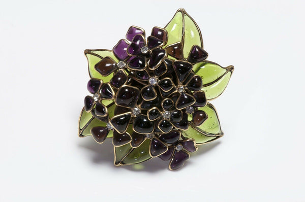 CHANEL 1950's Gripoix Glass Purple Violets Flower Brooch