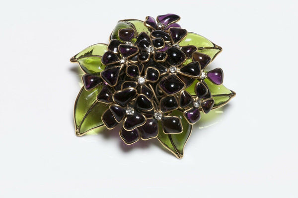 CHANEL 1950's Gripoix Glass Violets Flower Brooch