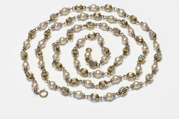 CHANEL 1970's Byzantine Style Crystal Pearl Chain Sautoir Necklace
