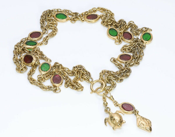 CHANEL 1970's Gripoix Green Red Glass Turtle Charm Chain Necklace