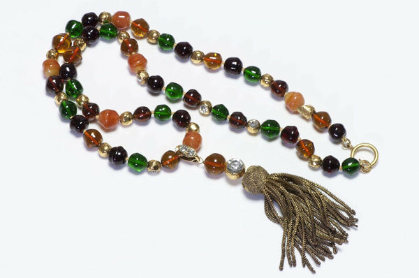 CHANEL 1970's Gripoix Green Glass Beads Tassel Necklace