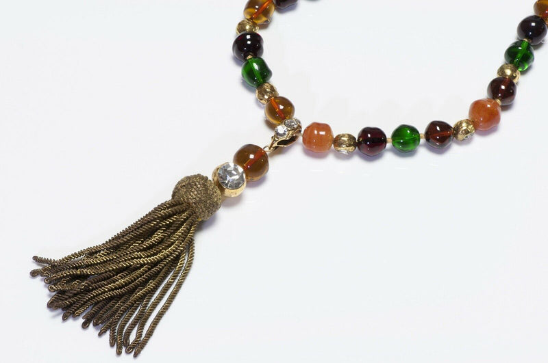 CHANEL 1970's Gripoix Yellow Glass Beads Tassel Necklace