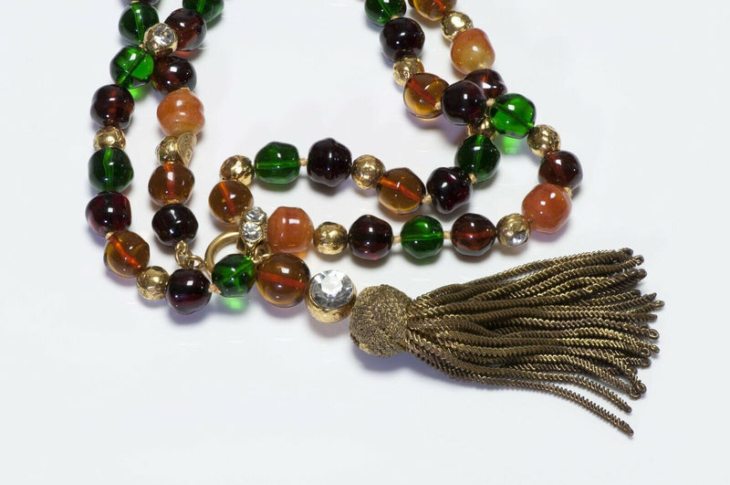 CHANEL 1970's Gripoix Glass Beads Necklace