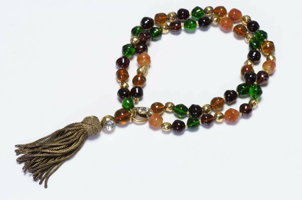 CHANEL 1970's Gripoix Glass Beads Tassel Necklace