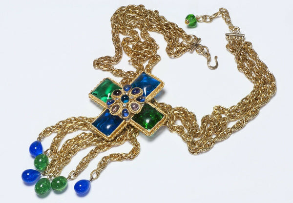 CHANEL 1970's Gripoix Green Blue Glass Cross Pendant Necklace