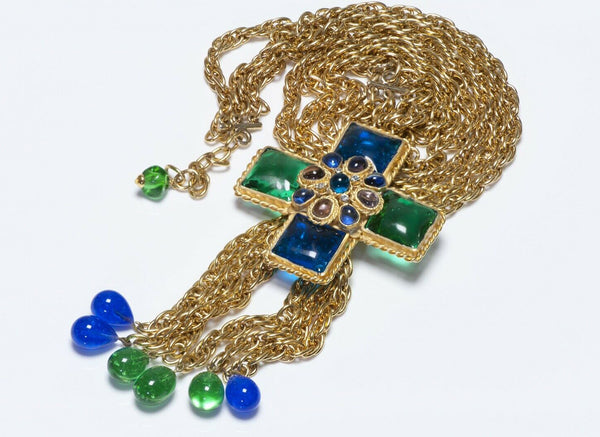 CHANEL 1970's Gripoix Green Blue Glass Cross Chain Pendant Necklace