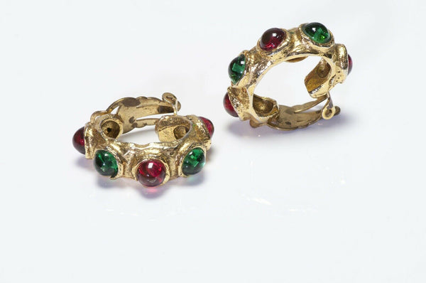 CHANEL 1970's Gripoix Red Glass Hoop Earrings