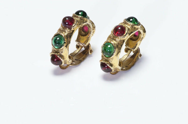 CHANEL 1970's Gripoix Green Red Glass Hoop Earrings