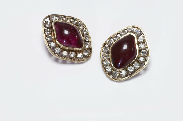 CHANEL 1970's Gripoix Red Glass Crystal Earrings
