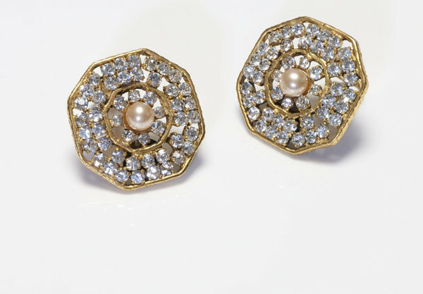 CHANEL 1970's Octagonal Crystal Pearl Earrings