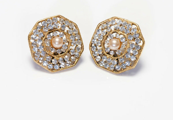 CHANEL 1970's Octagonal Crystal Brown Pearl Earrings
