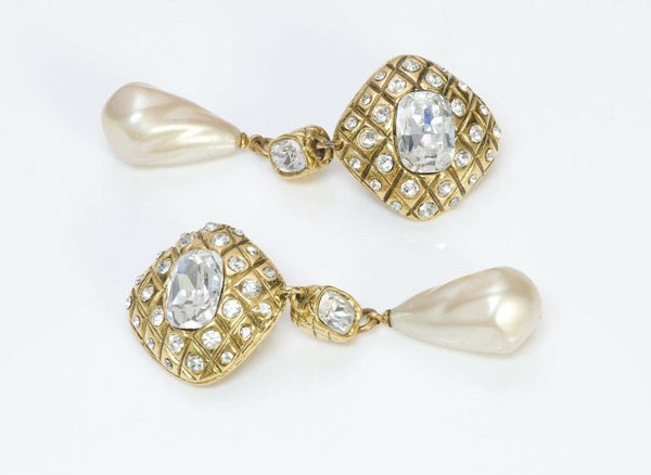 CHANEL Vintage 1980's Long Quilted Crystal Pearl Drop Earrings