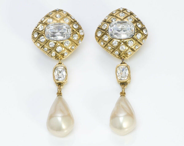 CHANEL Vintage Quilted Crystal Pearl Drop Earrings