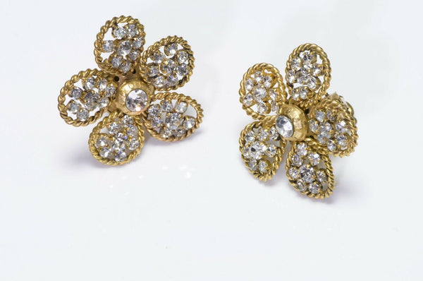 CHANEL Vintage 1983 Crystal Camellia Flower Earrings