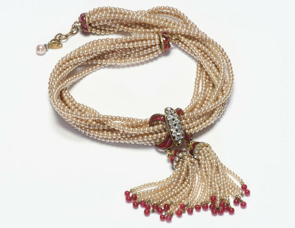 CHANEL 1983 Maison Gripoix Pearl Red Glass Tassel Beads Necklace